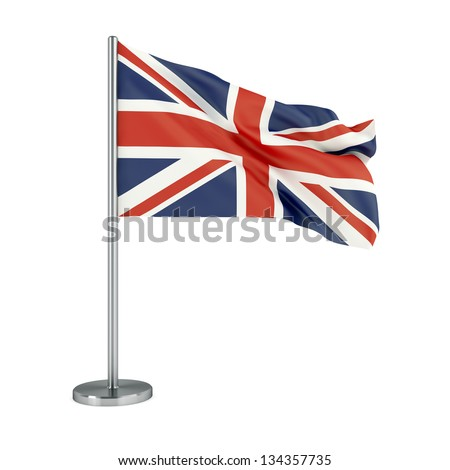 3d illustration. Flag of UK isolated on white. - stock photo