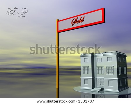 3D illustration, for sold sign in front of a building.  Real estate, investment concept. Copy space