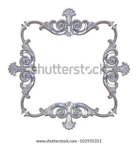 3d illustration frame, the sculptural form on a white background