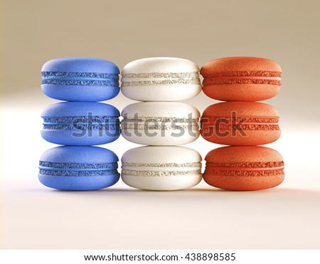 3D illustration. French macaroons in layout and colors of the French flag. Clipping path included. - stock photo