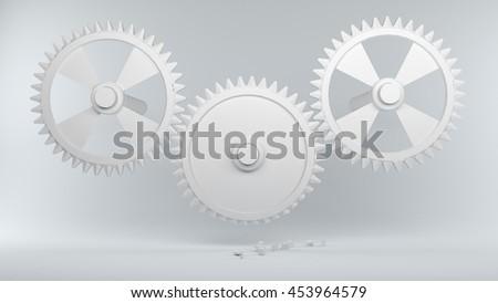 3d illustration; Gears with broken teeth  - stock photo