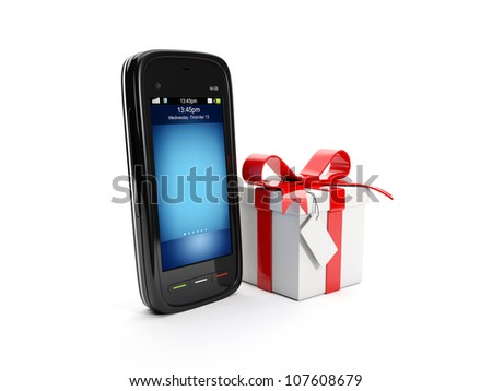 3d illustration: Gift for purchasing a mobile phone - stock photo