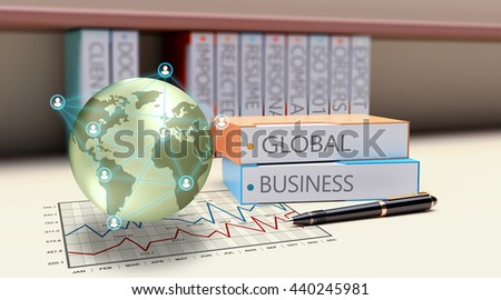 3D Illustration, Global Business, corporate connections worldwide. Export, import, networking growth concept background. - stock photo