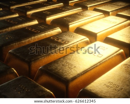 3D illustration. Gold bars 1000 grams.Concept of success in business and finance.