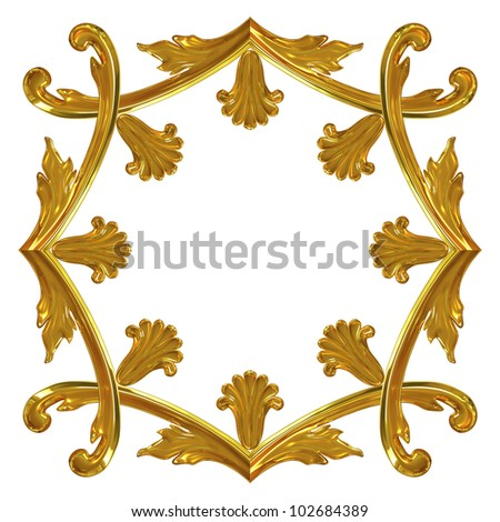 3d illustration gold ornamentation for interior decoration