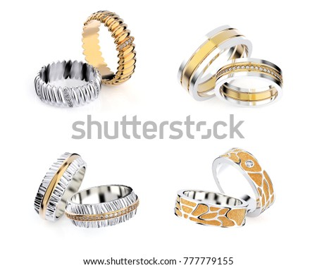 3D illustration gold rings of different angles with gemstone. Jewelry background. Fashion accessory