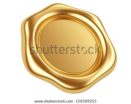 3d illustration gold seal isolated on a white background - stock photo