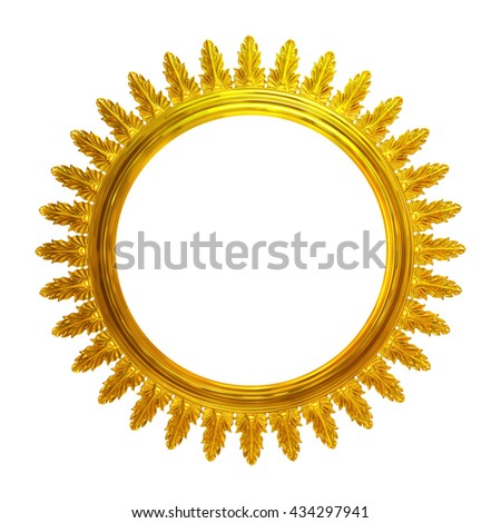 3d illustration gold wreath of acanthus leaves - stock photo