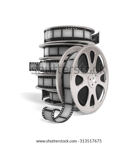 3d illustration. Group with film reels on a white background