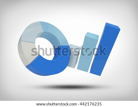 3D illustration growth graph on a grey background - stock photo
