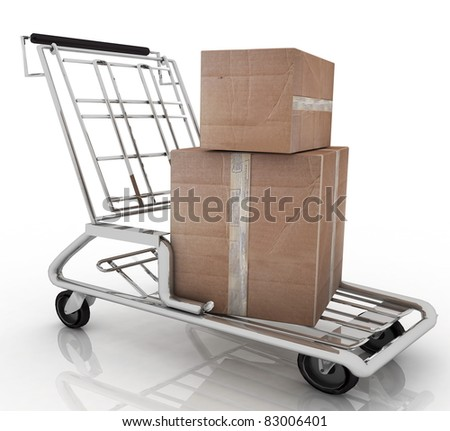 3d illustration, hand truck with two cardboard boxes - stock photo