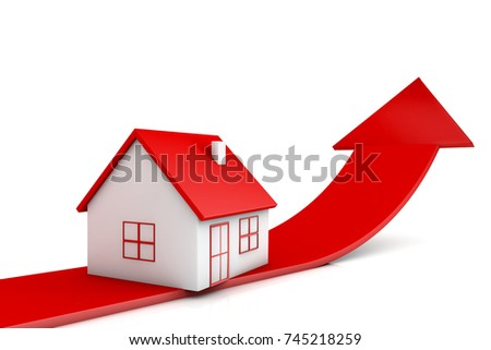 3d illustration house and red arrow growing up on white backgrounds
