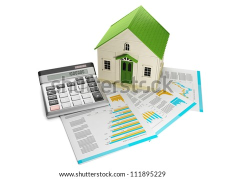 3d illustration: Houses. Toy house and documentation with a calculator - stock photo