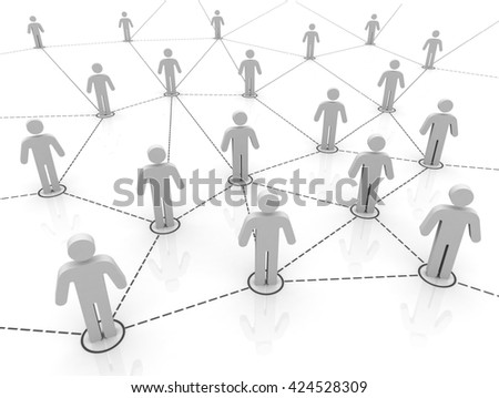 3D illustration    human network connections