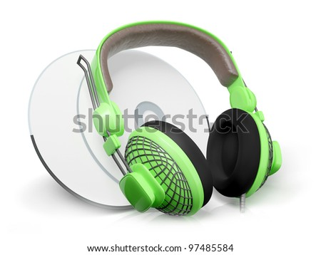 3d illustration: Icon of sound in a headphone and cd drives