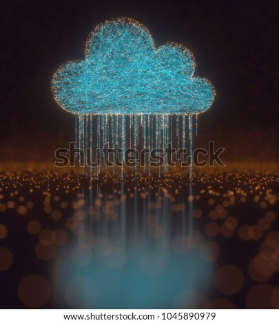 3D illustration. Image concept of cloud computing. Connections between points forming a cloud. Data rain.