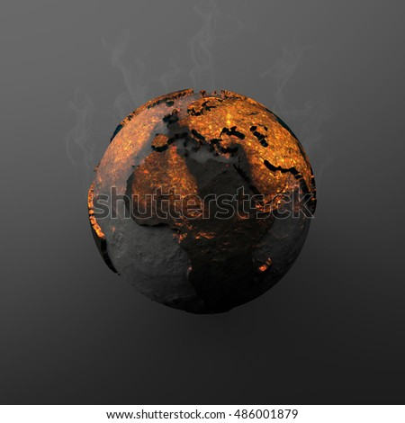 3D Illustration - Incandescent planet earth