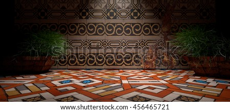 3D illustration.Indoor architecture.Floral wall tiles.Floor ceramic tiles.3D abstract background interior.Floor and wall in dark scene - stock photo