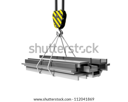 3d illustration: Industry and remont.Gruppa metal structures and crane - stock photo