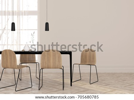 3D illustration. Interior of a minimalist dining room in calm colors