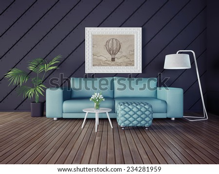 3d illustration interior room with a beautiful furniture - stock photo