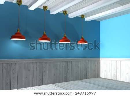 3d Illustration, interior wall illuminated by lamps above - stock photo