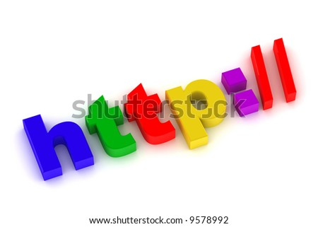 """3d illustration internet sign """"http://"""" isolated on white - stock photo"""