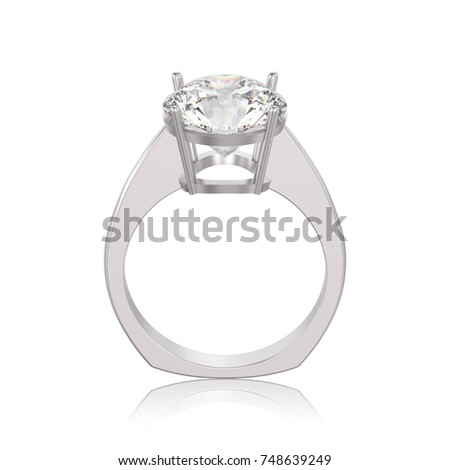 3D illustration isolated white gold or silver engagement euro style ring with diamond with reflection on a white background