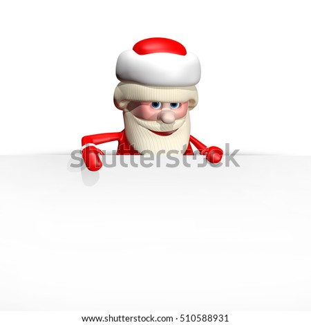 3D Illustration Jolly Santa Claus with a White Background