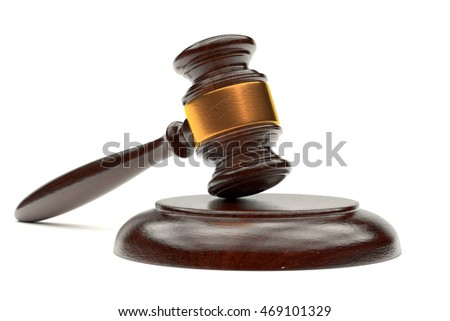 3d illustration judges gavel on a stand