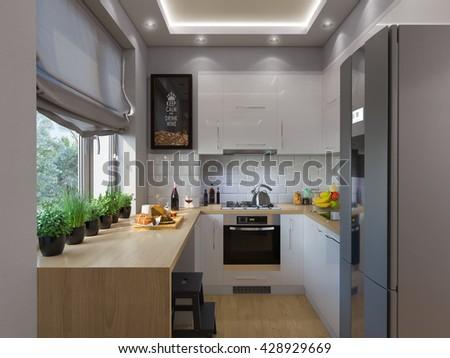 3d illustration kitchen interior design. Modern studio apartment in the Scandinavian minimalist style - stock photo