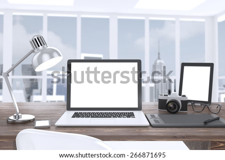 3D illustration laptop camera tablet on table in office, Workspace - stock photo