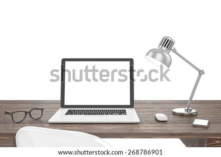 3D illustration laptop on table, Workspace - stock photo