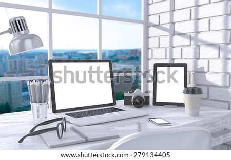 3D illustration laptopand work stuff on table near brick wall, Workspace - stock photo