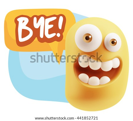 3d Illustration Laughing Character Emoji Expression saying Bye with Colorful Speech Bubble.