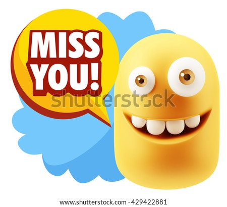 3d Illustration Laughing Character Emoji Expression saying Miss You with Colorful Speech Bubble.