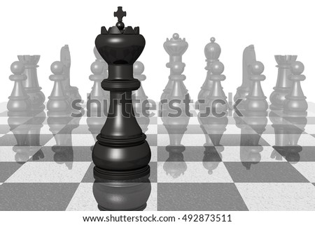 3D illustration. Leader. black king closeup on chessboard.