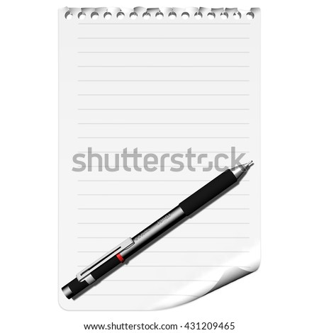 3D illustration. Leaf torn from notebook with pen and resting space to insert text