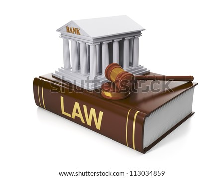 3d illustration: Legal assistance. The legal situation of the banks, the violation of the law - stock photo