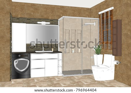 Linear Sketch Of An Bathroom Interior Design Modern Furniture