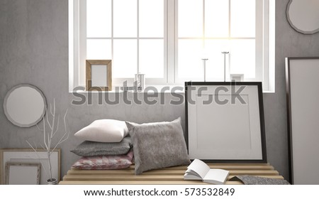 3d Illustration Loft Interior With Bench Frames And Canvas Mock Up