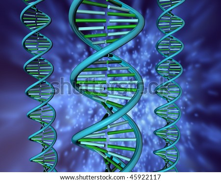 3D illustration looks dna on the blue background. - stock photo