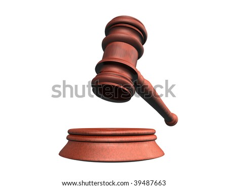 3d illustration looks judge hammer for a white background. - stock photo
