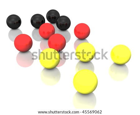 3d illustration looks many balls in german national colors.