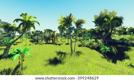 3D illustration: Lush vegetation in jungle - stock photo