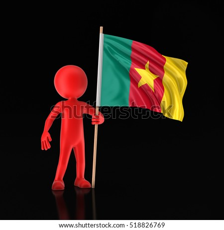 3D Illustration. Man and Cameroon flag. Image with clipping path