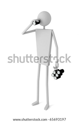 3d illustration Man drinking from black aluminum can over white background