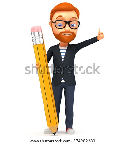 3d illustration. Man with pencil on white background. - stock photo
