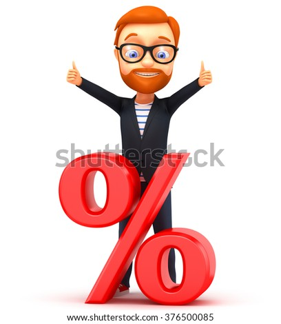 3d illustration. Man with percent on white background. - stock photo