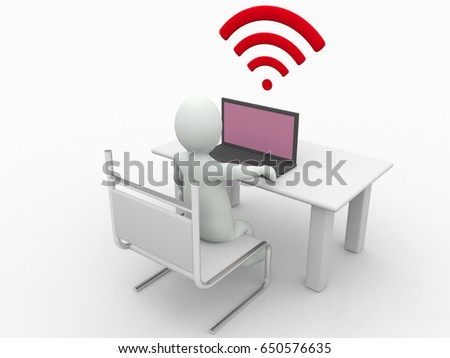 3d illustration man with WiFi symbol with laptop